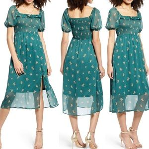 All in Favor Smocked Chiffon Printed Dress